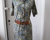 Vintage 60s 70s Shirt Waist Mini Dress Paisley Geometric Design Silk Rayon