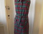 1960s Swiss Dot Shift Dress Red & Green Plaid Peggy Gee Sleeveless W/ Belt