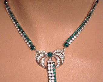 Vintage Antique 30s 40s Emerald and Clear Rhinestone Choker Necklace Large Drop