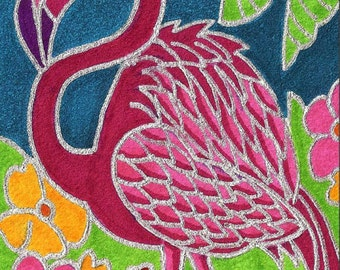 Pink Flamingo by David Venne mono deluxe Needlepoint Canvas