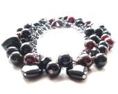 Black Onyx Bracelet and  Rhodolite Garnet Bead Bauble onon Gun Metal