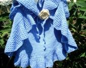 Crochet Pattern for Girls Waterfall Cardigan - Bolero - Waistcoat - Shrug - Sizes Newborn to 6 years old