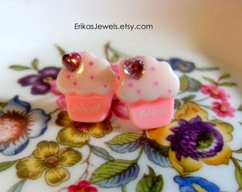 Pink Cupcake Stud Earrings - Small - 14 mm