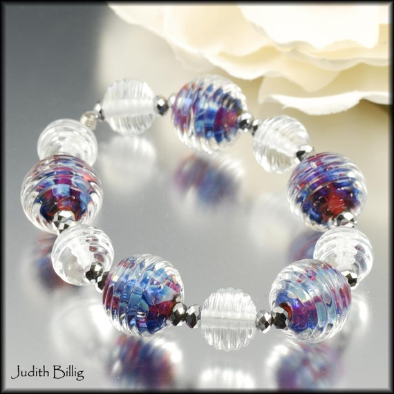 Round Handmade Lampwork Beads - blue and purple silver glass - Julianne