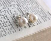 "Classic Cream Freshwater Pearl Stud Earrings - ""Jane"""