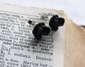 Black Flower Stud Earrings -- Rhodium Plated Posts -- Cute Plastic Rose Charms