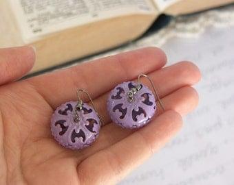 Purple Bead Earrings -- Lavender Enamel Metal Baubles -- Ornate Filigree Drops -- UK