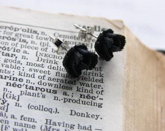 Jet Black Flower Stud/Post Earrings