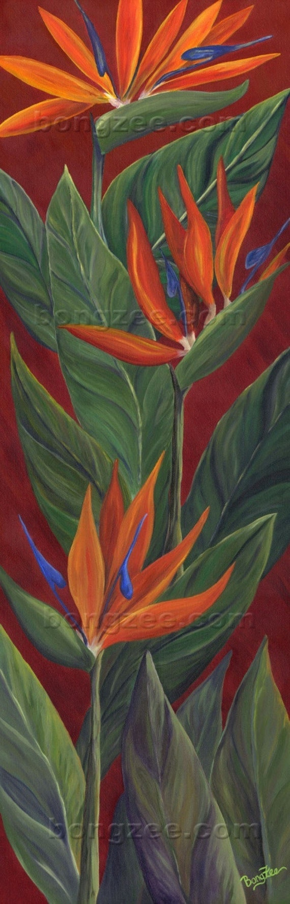 BIRD OF PARADISE Large 36x12 Original Oil Painting Art Artwork