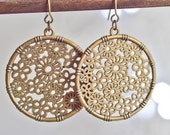 Filigree flower circle dangles - light weight flower earrings