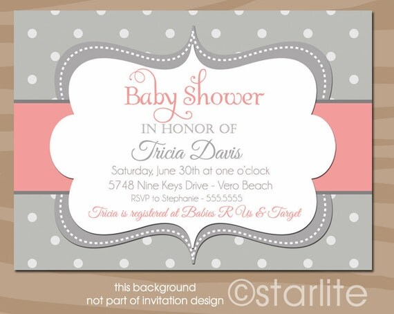 Coral + Gray Baby Shower Invitation, Coral Grey Girl Baby Shower Invitation, Polka Dots Baby Shower Invitation, Printable, Printed