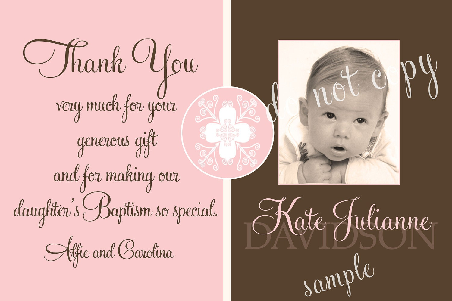 Baptism photo thank you card girl pink brown girl by starwedd for Baptism thank you card template