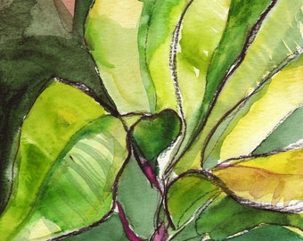 Art Painting Watercolor Tropical Abstract  Lime Green Foliage Leaves Print