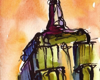 Art Painting Watercolor NYC Empire State Building  Sunset  Print