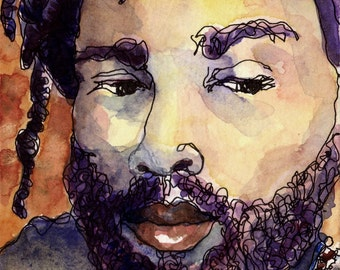 Black Rastafarian Dreadlock Man Watercolor PRINT