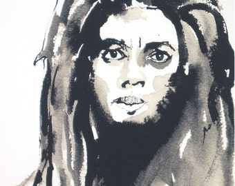 Art Pen and Ink Drawing Dreadlock Rastafarian Black Man Portrait Art PRINT