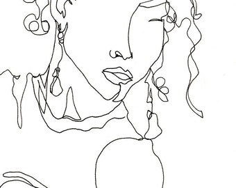 Art  Pen and Ink Drawing Winking Woman with Curly Hair Glamourous PRINT