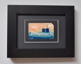 ART Original Oil Painting NYC  World Trade Center Towers on Recycled  Subway Card