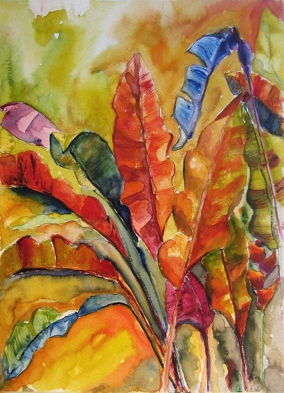 Art Painting Watercolor Tropical Banana Leaves Caribbean Garden Foliage  Print