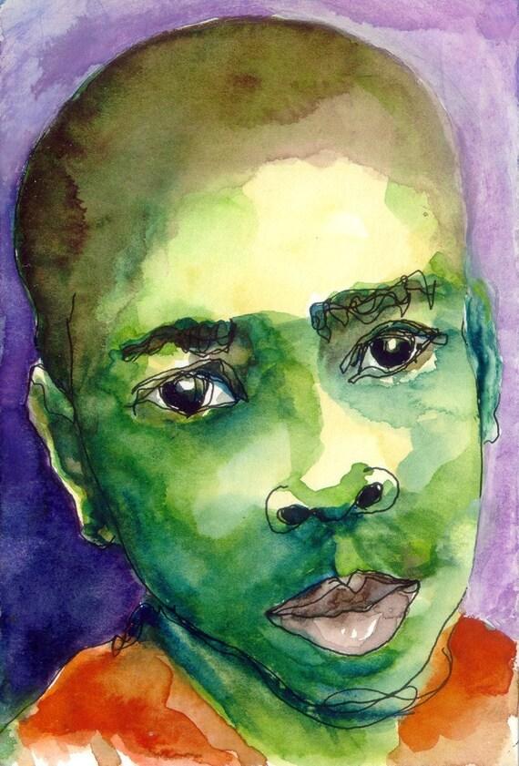 Art Painting Watercolor Portrait Black Boy Jamaican Print by VH McKenzie on Etsy