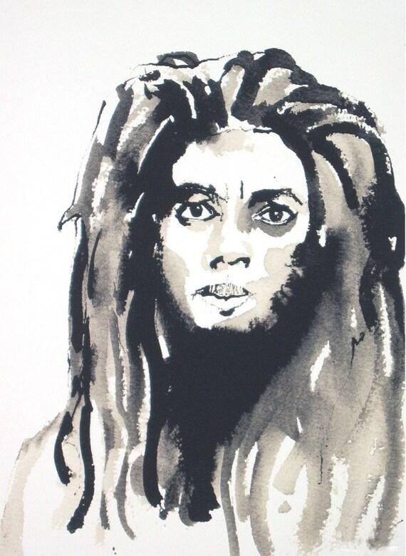 Art plume et encre dessin dreadlock rasta noir homme portrait - Dessin de rasta ...