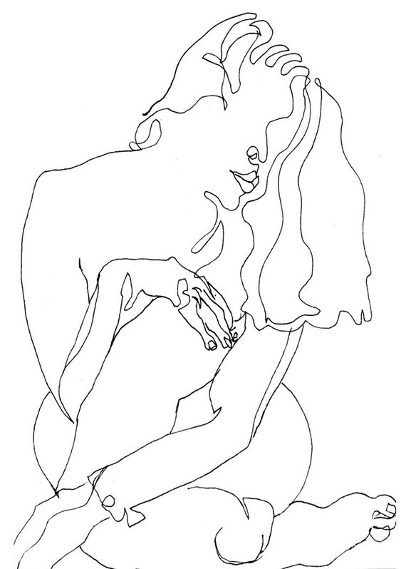 Art  Pen and Ink Drawing Nude Figure Black and White  Woman PRINT