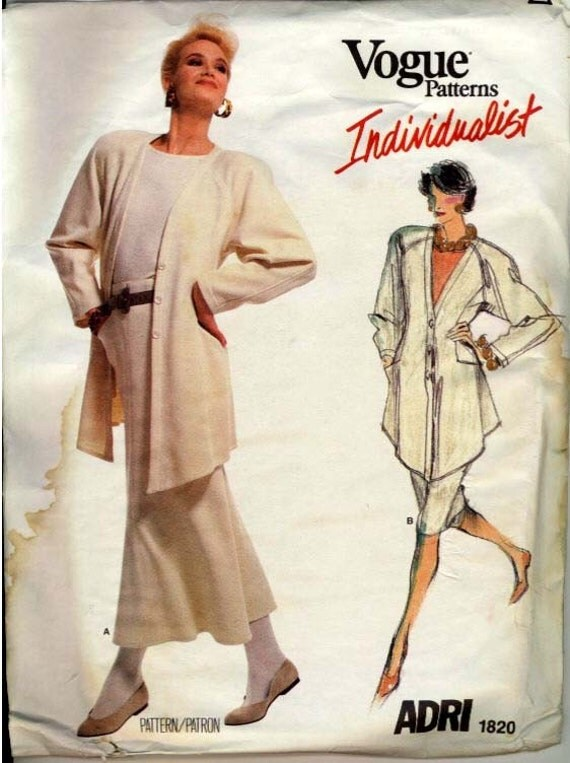 Vogue 1986 Adri Jacket Skirt and Top No 1820 Size 10
