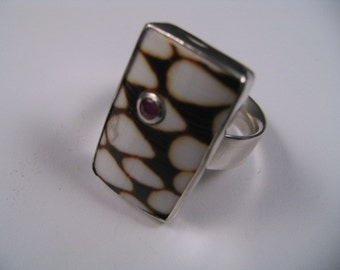 Cone Shell Ring, Ruby inlaid. Original design by : Marc Gounard of Sausalito, CA. Sterling silver.
