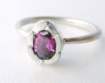 Rhodorite garnet silver ring