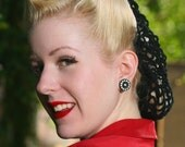 Hair Snood in Black Crocheted from Vintage 1940's Design Retro Pinup