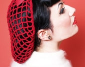 Vintage Retro Pinup Hair Snood in Cherry Red Crocheted from 1940's Design Featured in Victory Girls Magazine
