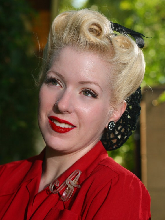 RESERVED For Stephanie Vintage Retro Pinup Hair Snood in Black Crocheted from  1940's Design