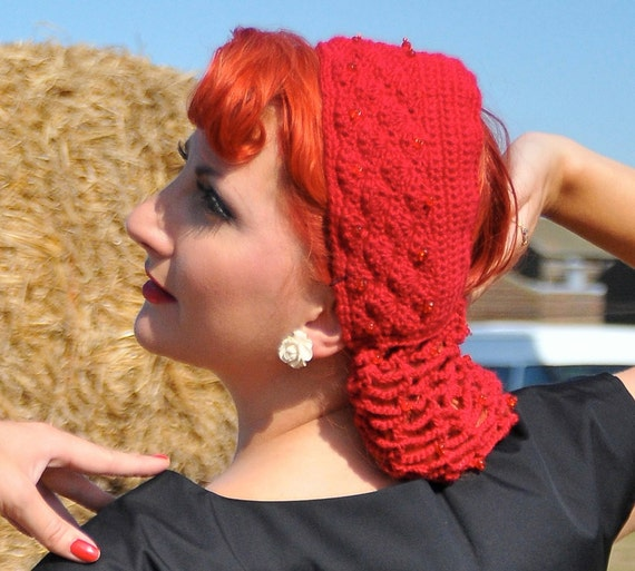 Hair Snood With Open Crown Beaded Made from Vintage 1940s Pattern Assorted Colors Retro Pinup