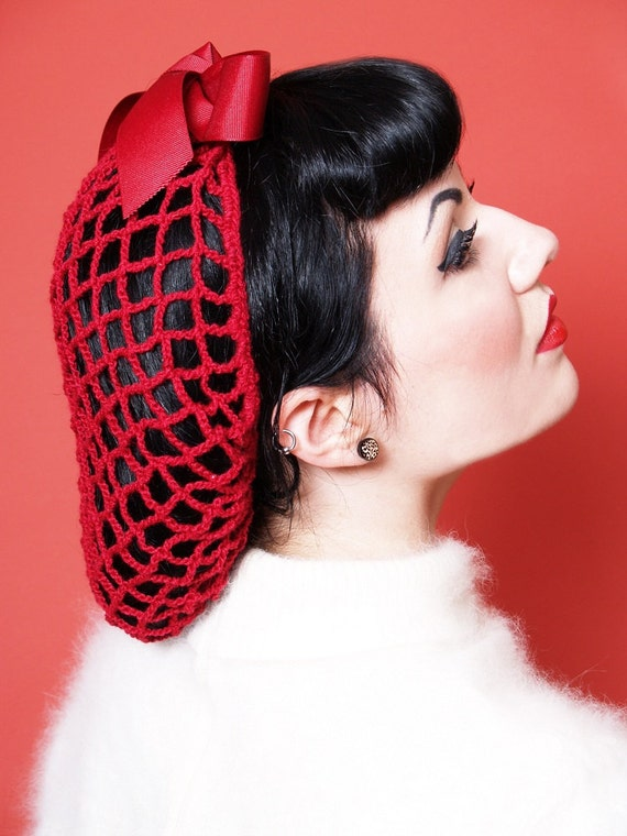 1940s Hairstyles- History of Women's Hairstyles Vintage Retro Pinup Hair Snood in Cherry Red Crocheted from 1940s Design Featured in Victory Girls Magazine $26.00 AT vintagedancer.com