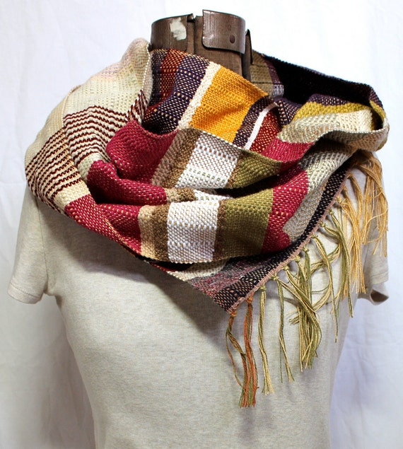 Ruthie - Handwoven Oxblood and Emerald Green Scarf - Winter Fashion Accessory