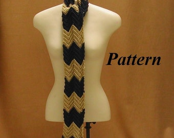 Crochet Pattern, Zig Zag Stripe Scarf Instructions, pdf Download, OK to Sell, Striped Neck Warmer, Chevron Stripes Pattern, Easy Pattern