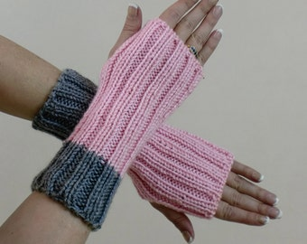 Ribbed Fingerless Gloves - Pink & Grey Arm Warmers - Mittens - Fingerless Mitts - Knit Hobo Wrist Warmers - Texting or Touch Screen Gloves