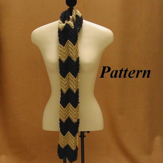 Crochet Scarf Patterns Zigzag : Easy Crochet Scarf Pattern Zig Zag Motif pdf by AllThingsTangled
