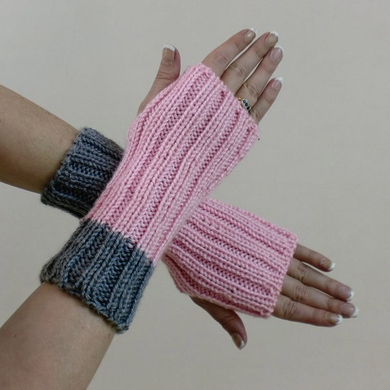 Ribbed Fingerless Gloves Pink & Grey Arm Warmers Mittens