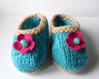 BABY Booties KNITTING Pattern Terrific Turquoise & Lacy Lime Baby Shoes - Instant Download