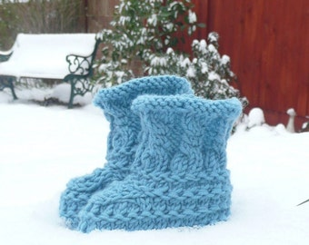 Knitting PATTERN BABY Booties - Teal Textured Baby Boots - INSTANT Digital Download