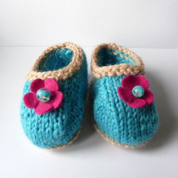 Knitting Pattern Baby Shoes Booties - Terrific Turquoise & Lacy Lime Baby Shoes