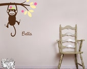 The Original Swinging Sock Monkey Decal with Name Freebie You Choose Four Colors