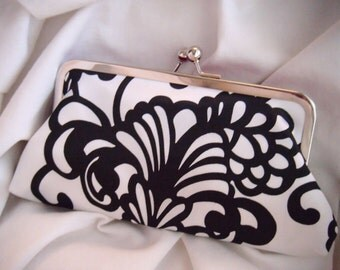 personalized clutches, Black and white satin clutch, accessory for a wedding, handmade, evening bag, wedding accessories, wedding clutch