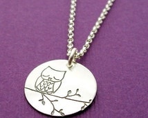 BLACK FRIDAY SALE - Sleepy Owl Necklace in Sterling Silver - Medium Charm - Hand Stamped Charm Necklace by Eclectic Wendy Designs