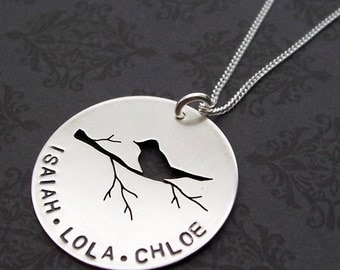 Mama Bird Necklace - Personalized Mother's Jewelry in Sterling Silver - Mother or Grandmother Gift w/ Multiple Names