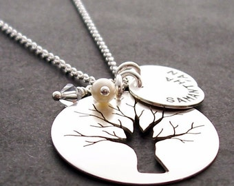 Family Tree Jewelry - Custom Hand Cut Oak Tree w/ Children's Names and Birthstones in Sterling Silver by EWDJewelry - Mother's Jewelry