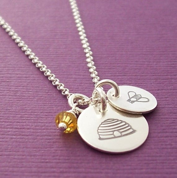 Happy Honey Bee Necklace - EWD Hand Stamped Sterling Silver Honeycomb, Bumble Bee and Crystal