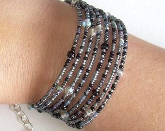 Witches' Brew Memory Wire Bracelet, Grey & Black Cuff Bracelet, Crystal Boho Jewelry