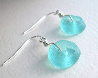 Round Turquoise Earrings; Aqua Blue Recycled Glass Jewelry, Eco Friendly Gifts Under 15